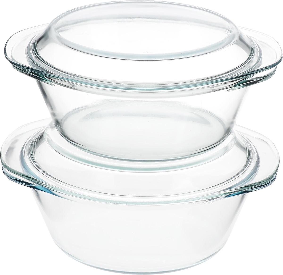 Набор кастрюль Helper Gurman, с крышками, 4 предмета. 45124512Набор Helper Gurman состоит из двух кастрюль с крышками. Кастрюли изготовлены из жаропрочного стекла. Стеклянная огнеупорная посуда идеальна для приготовления блюд в духовке, микроволновой печи, а также для хранения продуктов в холодильнике и морозильной камере. Безопасна с точки зрения экологии. Не вступает в реакции с готовящейся пищей, не боится кислот и солей. Не ржавеет, в ней не появляется накипь. Не впитывает запахи и жир. Благодаря прозрачности стекла, за едой можно наблюдать при ее готовке. Изделия оснащены небольшими ручками. Можно мыть в посудомоечной машине. Объем кастрюль: 1,8 л, 2,3 л. Диаметр кастрюль: 21 см, 22 см. Высота стенки кастрюль: 7,5 см, 8,5 см.