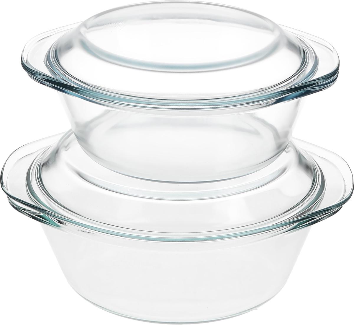 Набор кастрюль Helper Gurman, с крышками, 4 предмета4511Набор Helper Gurman состоит из двух кастрюль с крышками. Кастрюли изготовлены из жаропрочного стекла. Стеклянная огнеупорная посуда идеальна для приготовления блюд в духовке, микроволновой печи, а также для хранения продуктов в холодильнике и морозильной камере. Безопасна с точки зрения экологии. Не вступает в реакции с готовящейся пищей, не боится кислот и солей. Не ржавеет, в ней не появляется накипь. Не впитывает запахи и жир. Благодаря прозрачности стекла, за едой можно наблюдать при ее готовке. Изделия оснащены небольшими ручками. Можно мыть в посудомоечной машине. Объем кастрюль: 1,2 л, 1,8 л. Диаметр кастрюль: 18,5 см, 21 см. Высота стенки кастрюль: 6,5 см, 8 см.