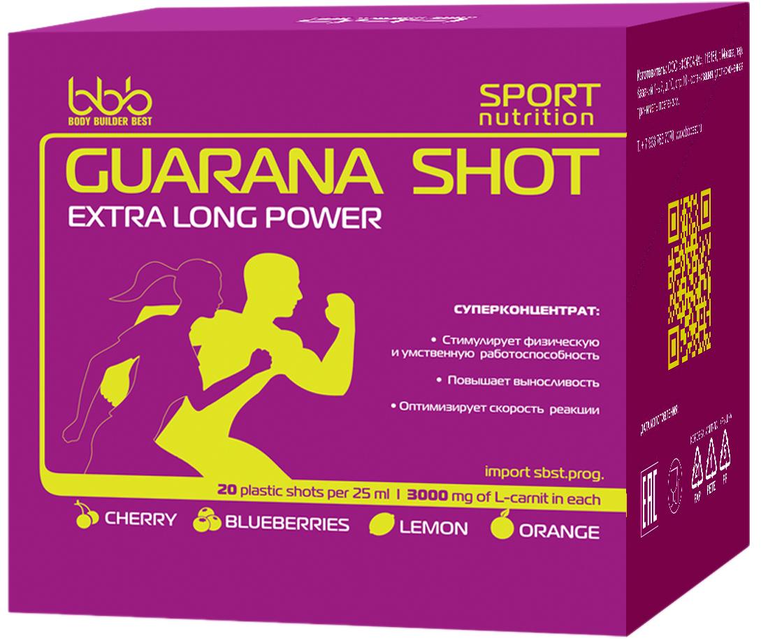Энергетический напиток bbb Гуарана / Guarana. Вишня, 25 мл, 20 ампул105126Суперконцентрат: - стимулирует физическую и умственную работоспособность - повышает выносливость - оптимизирует силу и скорость реакций В каждой ампуле 150мг кофеина (гуарана в пересчёте на кофеин + кофеин) Рекомендации по применению: Принимать по 1 ампуле за 20-30 минут до нагрузок. Состав: экстракт гуараны 22% - 500 мг (в т.ч. кофеин-110мг), кофеин - 40мг, аскорбиновая кислота, ароматизатор, идентичный натуральному, подсластитель сукралоза, вода очищенная.