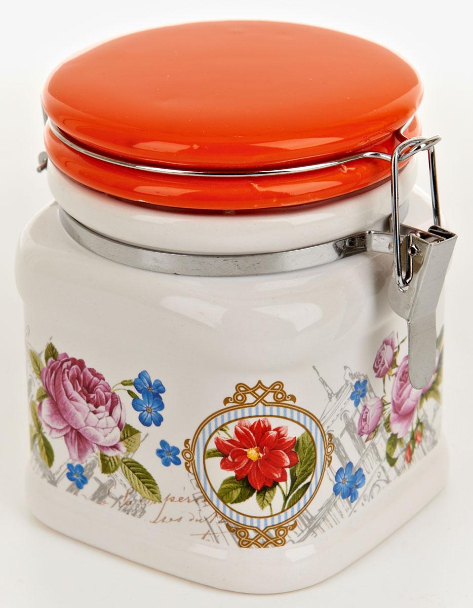 Банка для сыпучих продуктов Nouvelle De France Лето в Европе, 500 мл0660093Банка для сыпучих продуктов изготовлена из прочной доломитовой керамики, покрытой слоем сверкающей гладкой глазури. Изделие оформлено красочным изображением. Банка прекрасно подойдет для хранения различных сыпучих продуктов: чая, кофе, сахара, круп и многого другого. Благодаря силиконовой прослойке и бугельному замку, крышка герметично закрывается, что позволяет дольше сохранять продукты свежими. Изящная емкость не только поможет хранить разнообразные сыпучие продукты, но и стильно дополнит интерьер кухни. Изделие подходит для использования в посудомоечной машине и в холодильнике.