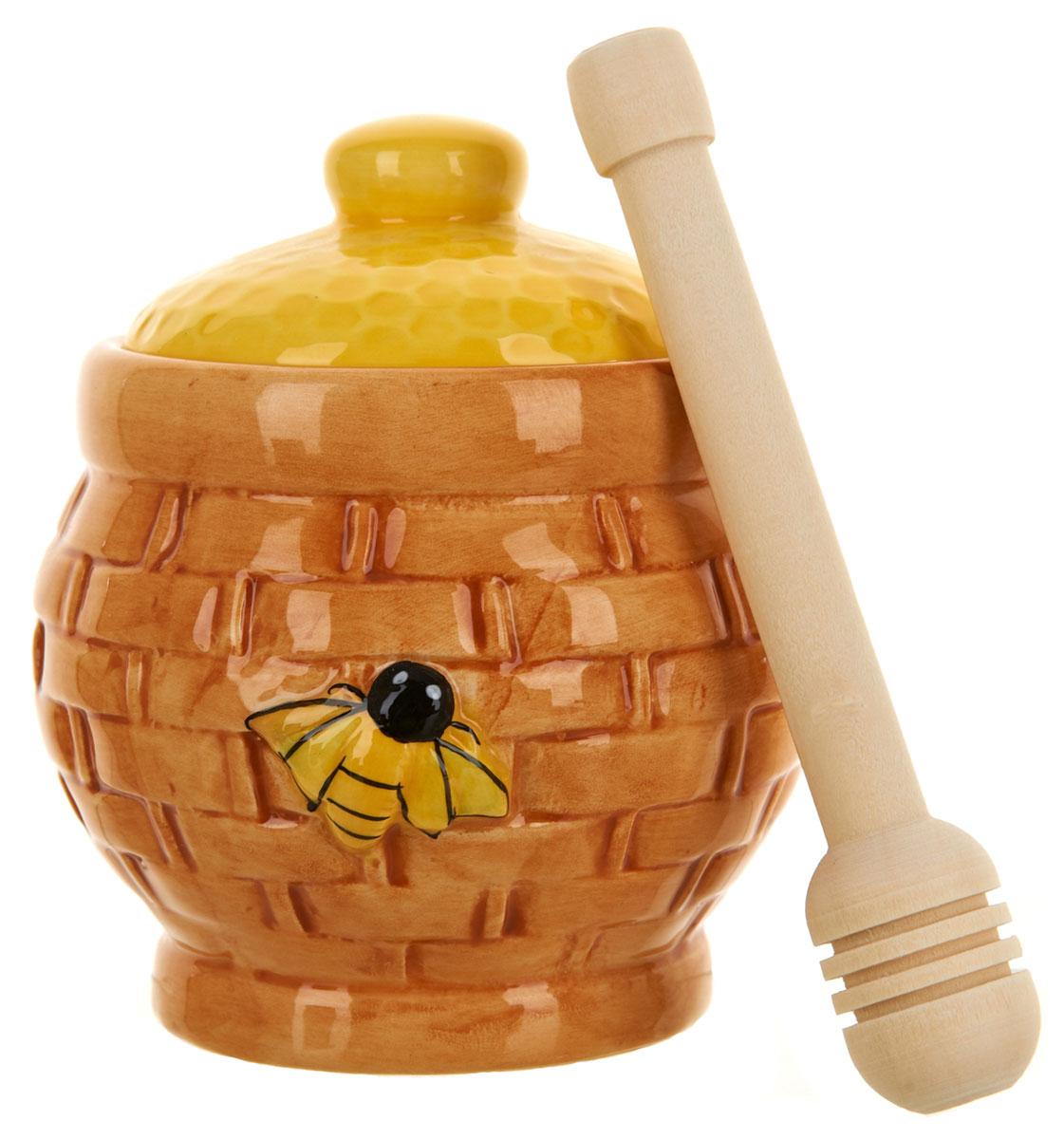 Медовница ENS Group Honey, с ложкой, 280 мл. 12903661290366Медовница Honey изготовлена из высококачественной керамики. Изделие оформлено изысканным рисунком.