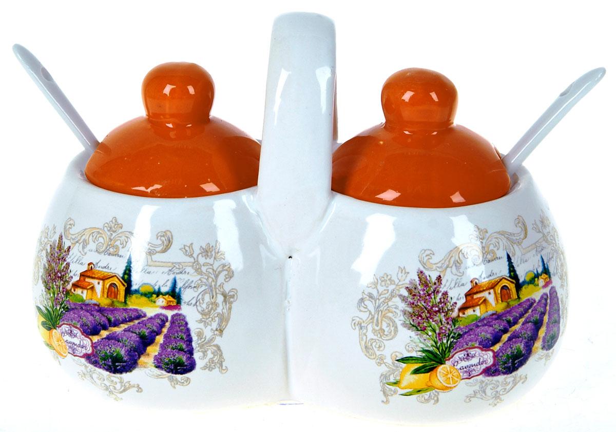 Банка для сыпучих продуктов Polystar Прованс, двойная, с ложками, 250 млL2430715Баночка для специй двойная 250 мл каждая емкость, с крышками и двумя керамическими ложечками. Изготовлена из керамики. Будет уместна в любом интерьере. Изделие упаковано в подарочную коробку.