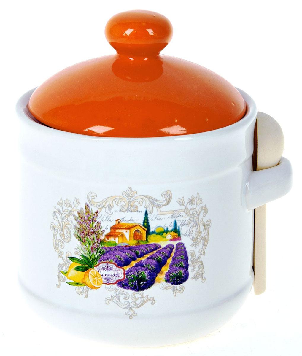Банка для сыпучих продуктов Polystar Прованс, с ложкой, 750 млL2430733Банка для сыпучих продуктов изготовлена из прочной доломитовой керамики, покрытой слоем сверкающей гладкой глазури. Изделие оформлено красочным изображением. Банка прекрасно подойдет для хранения различных сыпучих продуктов: чая, кофе, сахара, круп и многого другого. Изящная емкость не только поможет хранить разнообразные сыпучие продукты, но и стильно дополнит интерьер кухни.