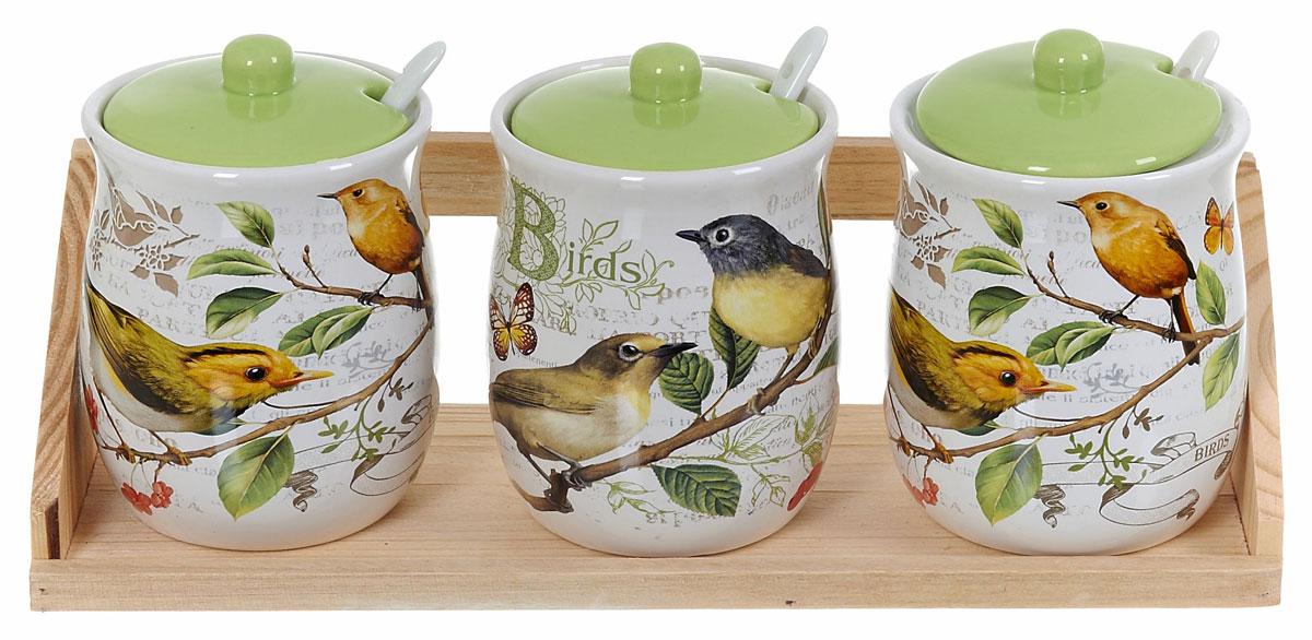 """Набор банок для сыпучих продуктов Polystar """"Birds"""", с ложками, 7 предметов"""