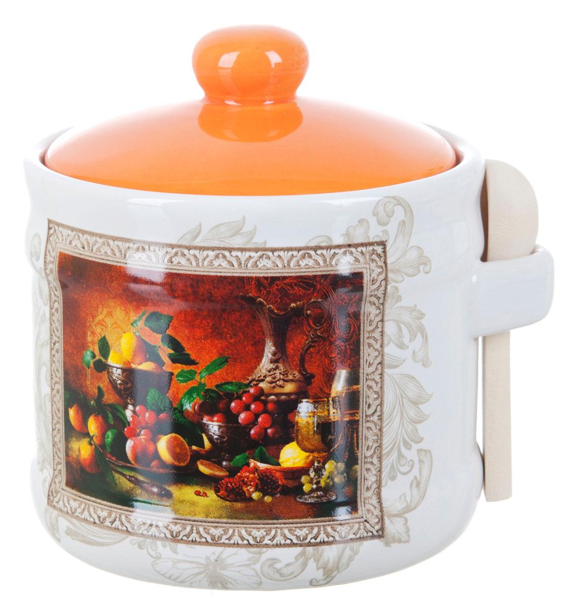 Банка для сыпучих продуктов Polystar Севилья, с ложкой, 400 млL2520558Банка для сыпучих продуктов изготовлена из прочной доломитовой керамики, покрытой слоем сверкающей гладкой глазури. Изделие оформлено красочным изображением. В комплект входит деревянная ложечка. Банка прекрасно подойдет для хранения различных сыпучих продуктов: чая, кофе, сахара, круп и многого другого. Изящная емкость не только поможет хранить разнообразные сыпучие продукты, но и стильно дополнит интерьер кухни. Изделие подходит для использования в посудомоечной машине и в холодильнике.