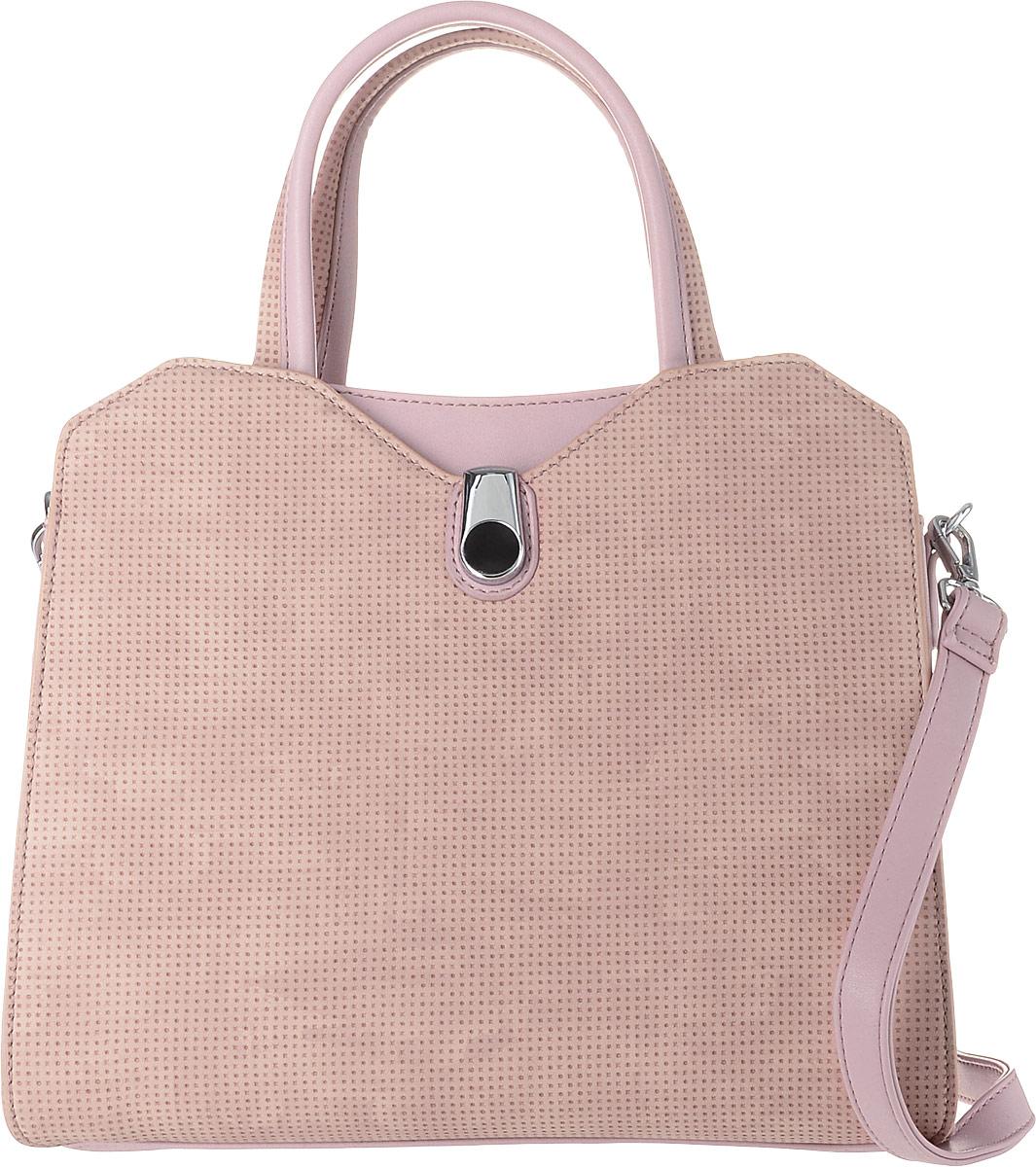 Сумка женская Flioraj, цвет: розовый. 00053351-1700053351-17Классическая женская сумка Flioraj выполнена в пастельных тонах из высококачественной экокожи. Изделие содержит одно отделение и закрывается на застежку-молнию. Внутри расположены два накладных кармана, врезной карман на застежке-молнии и карман-средник на молнии. Задняя сторона сумки дополнена врезным карманом на молнии, передняя сторона карманом на магнитном замке. Сумка оснащена двумя удобными ручками средней высоты. Дно сумки дополнено металлическими ножками. В комплект входит съемный плечевой ремень, который регулируется по длине.