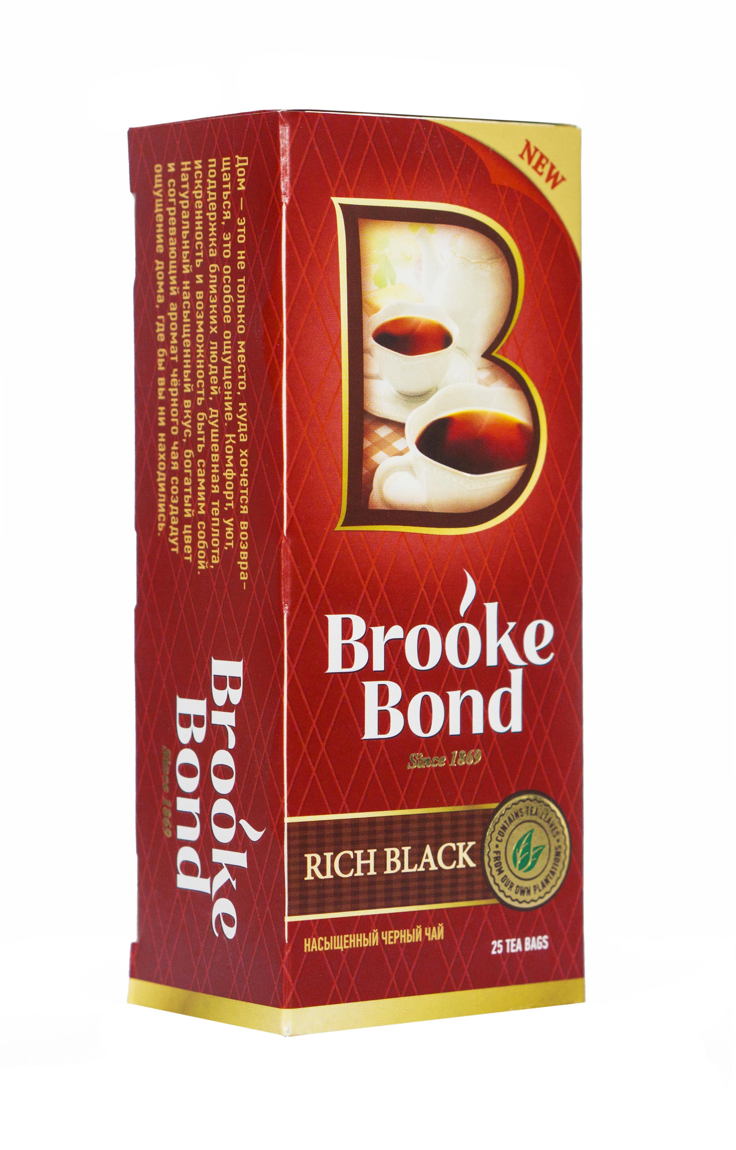 Brooke Bond Насыщенный черный чай в пакетиках, 25 шт