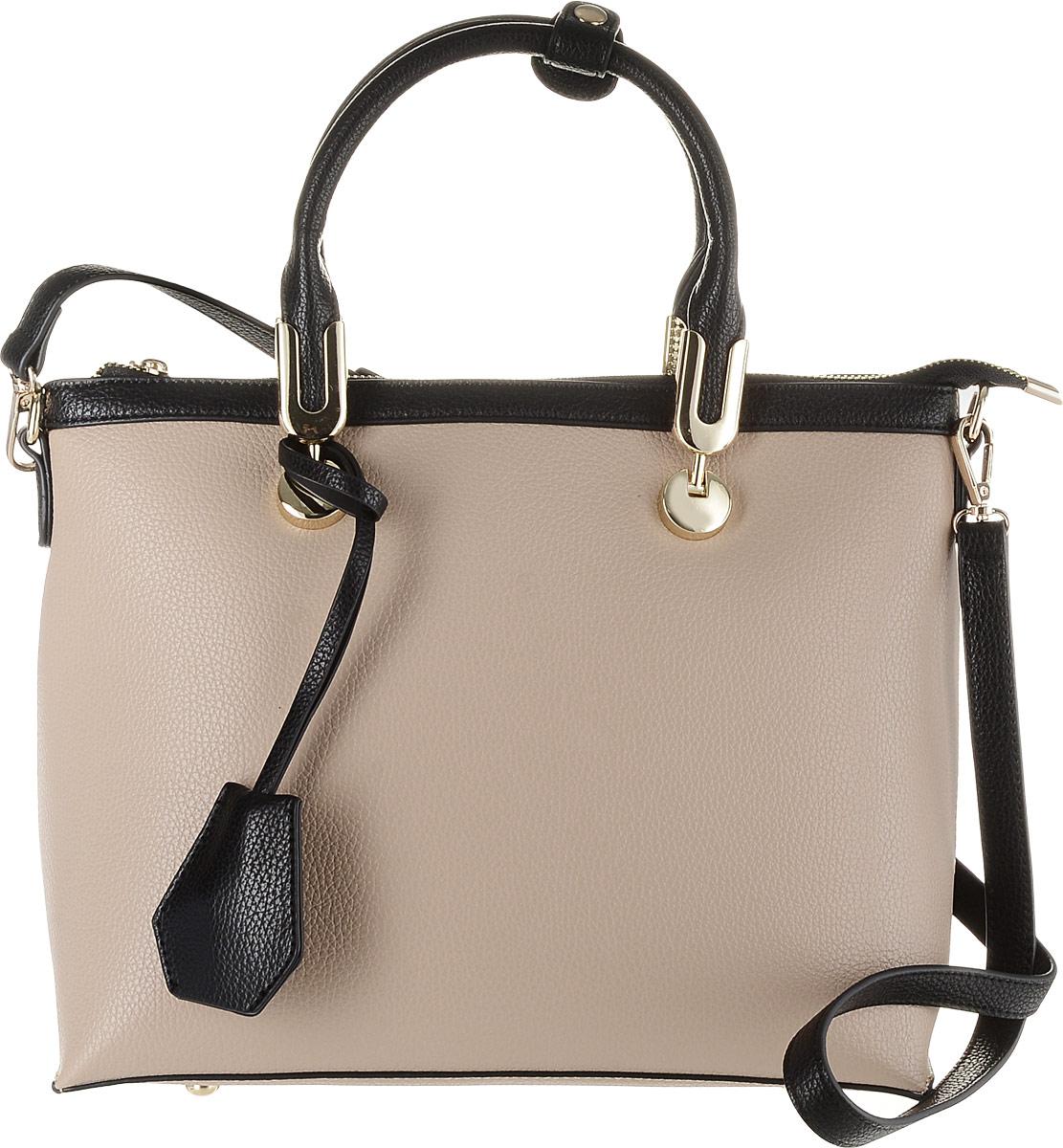 Сумка женская Flioraj, цвет: черный, бежевый. 00053354-1700053354-17Классическая женская сумка Flioraj выполнена в пастельных тонах из высококачественной экокожи. Изделие содержит одно отделение и закрывается на застежку-молнию. Внутри находится прорезной карман на застежке-молнии и два накладных открытых кармана. Снаружи, на задней стенке размещен прорезной карман на застежке-молнии. Сумка дополнена подвеской и оформлена металлической фурнитурой. Модель оснащена двумя удобными ручками средней высоты. Дно сумки дополнено металлическими ножками. В комплект входит съемный плечевой ремень, который регулируется по длине.
