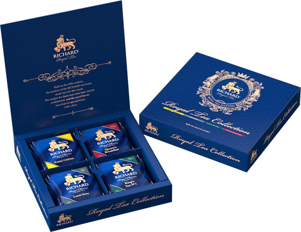 Richard Royal Tea Collection чай черный ассорти в пакетиках, 20 шт100156Черный чай Richard Royal Tea Collection можно с гордостью ставить на праздничный стол! В упаковку входят четыре вида чая: Royal Ceylon - бесценный шедевр Королевской чайной коллекции, блистательный купаж Royal Ceylon хранит верность тонкому вкусу коронованных особ. Отборный высокогорный цейлонский чай с мягкими, едва уловимыми сладковатыми нотками - неизменный выбор королей. Lord Grey - аристократичность и безупречный вкус - главные отличия особ высшего света и... чая Lord Grey. Неповторимый букет Золотого цейлонского чая с чарующей нотой бергамота и легким цитрусовым шлейфом - фаворит светских раутов. Kings Tea No.1 - любимый чай Его Величества, сопровождающий монарха в летних резиденциях и деловых поездках. Этот элегантный чайный букет с пикантным и тонким шлейфом кафрского лайма и английской мяты помогает сохранить ясность мысли и бодрость духа. Queens Breakfast - этому чаю в Королевской коллекции отведена важная роль обеспечить монаршей семье...
