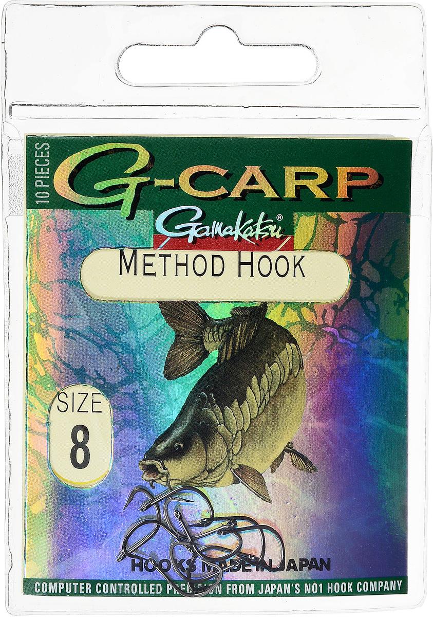 Крючок рыболовный Gamakatsu G-Carp. Method Hook, №8, 10 шт14682400800Крючок Gamakatsu G-Carp. Method Hook предназначен, в первую очередь, для применения в составе донных оснасток, сопряженных с кормушками, не только в карповой, но и в фидерной ловле. Увеличенная ширина загиба позволяет эффективно работать с приманками, расположенными непосредственно на крючке. Применимы в волосяных оснастках. Отлично работают на участках дна с наличием мусора. Применимы в стоячей воде и на течении. Имеют боковой отгиб жала, направленного в сторону колечка, что обеспечивает высокую эффективность их применения. Прокованная проволока обеспечивает при небольших диаметрах большой резерв мощности. Вид крепления: кольцо. Размер крючка: №8.