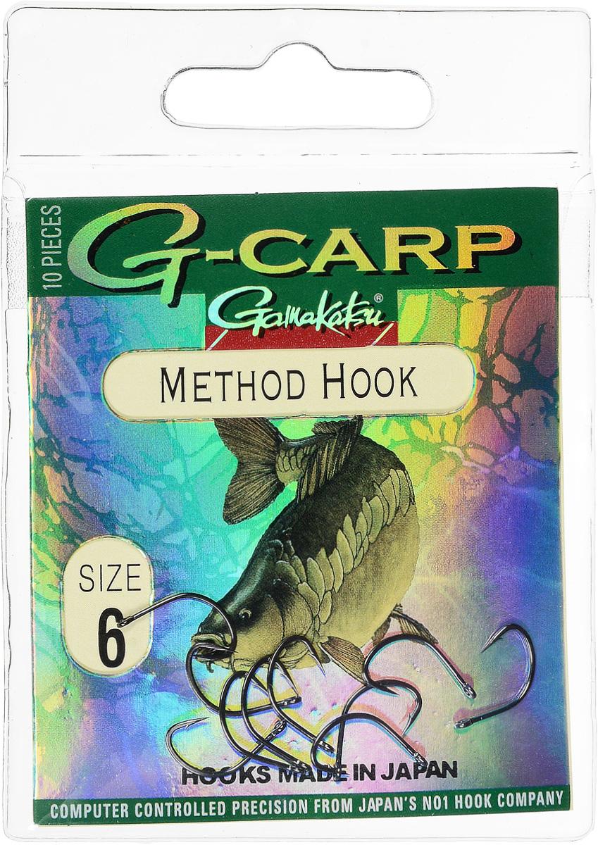 Крючок рыболовный Gamakatsu G-Carp. Method Hook, №6, 10 шт14682400600Крючок Gamakatsu G-Carp. Method Hook предназначен, в первую очередь, для применения в составе донных оснасток, сопряженных с кормушками, не только в карповой, но и в фидерной ловле. Увеличенная ширина загиба позволяет эффективно работать с приманками, расположенными непосредственно на крючке. Применимы в волосяных оснастках. Отлично работают на участках дна с наличием мусора. Применимы в стоячей воде и на течении. Имеют боковой отгиб жала, направленного в сторону колечка, что обеспечивает высокую эффективность их применения. Прокованная проволока обеспечивает при небольших диаметрах большой резерв мощности. Вид крепления: кольцо. Размер крючка: №6.