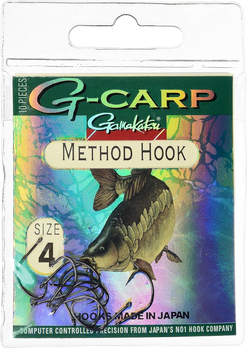 Крючок рыболовный Gamakatsu G-Carp. Method Hook, №4, 10 шт14682400400Крючок Gamakatsu G-Carp. Method Hook предназначен, в первую очередь, для применения в составе донных оснасток, сопряженных с кормушками, не только в карповой, но и в фидерной ловле. Увеличенная ширина загиба позволяет эффективно работать с приманками, расположенными непосредственно на крючке. Применимы в волосяных оснастках. Отлично работают на участках дна с наличием мусора. Применимы в стоячей воде и на течении. Имеют боковой отгиб жала, направленного в сторону колечка, что обеспечивает высокую эффективность их применения. Прокованная проволока обеспечивает при небольших диаметрах большой резерв мощности. Вид крепления: кольцо. Размер крючка: №4.