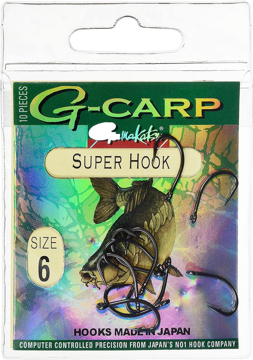 Крючок рыболовный Gamakatsu G-Carp. Super Hook, №6, 10 шт14682900600Крючок Gamakatsu G-Carp. Super Hook предназначен для применения в составе волосяных оснасток с тонущими насадками, сборными и балансированными на чистых участках дна. Универсальная форма крюка позволяет применять его не только в составе монтажей, но и насаживать наживку непосредственно, на него. Областью применения является как стоячая вода, так и течение. Не имеют бокового отгиба, острие прямое, без подгиба внутрь. На сегодняшний день рыболовные крючки Gamakatsu являются лучшими по качеству в Японии и Европе. Все крючки выполняются из очень прочной стальной проволоки. Жала крючков имеют химическую заточку. Вид крепления: ушко. Размер крючка: №6.