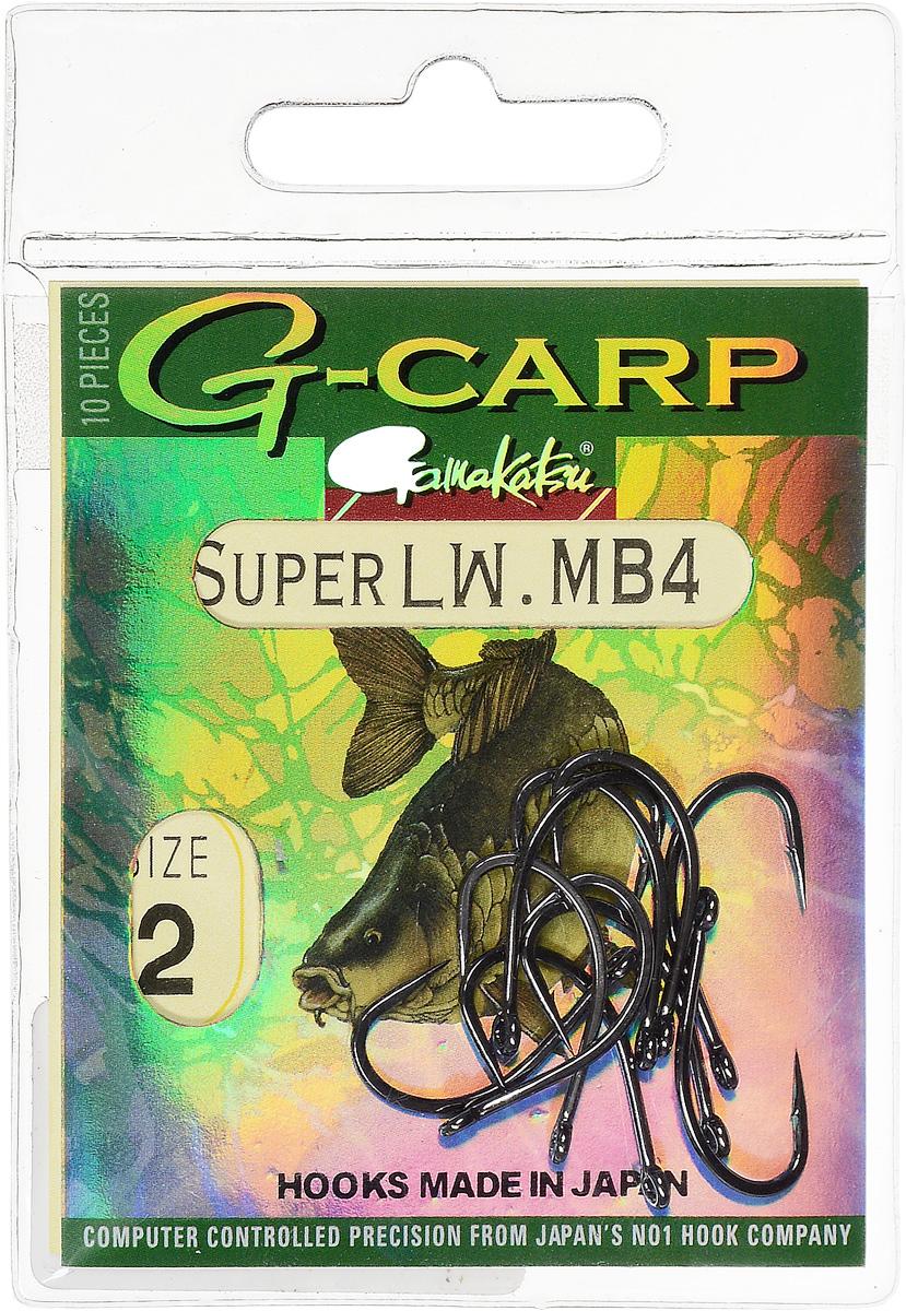 Крючок рыболовный Gamakatsu G-Carp Super LW MB4, размер 2, 10 шт14686600200Крючок Gamakatsu G-Carp Super LW MB4 подходит для ловли карпа. Изделие изготовлено из стали повышенной прочности. Крючок долго остается острым и легко впивается даже в твердую кость. Крючок не имеет бокового отгиба, жало прямое. Применяется в составе волосяных оснасток с тонущими насадками, а также с насадками типа снеговик. Подходит для растительных и животных насадок. Крючок прекрасно справляется на участках дна с наличием донного мусора. Размер: 2. Количество: 10 шт. Вид головки: кольцо.