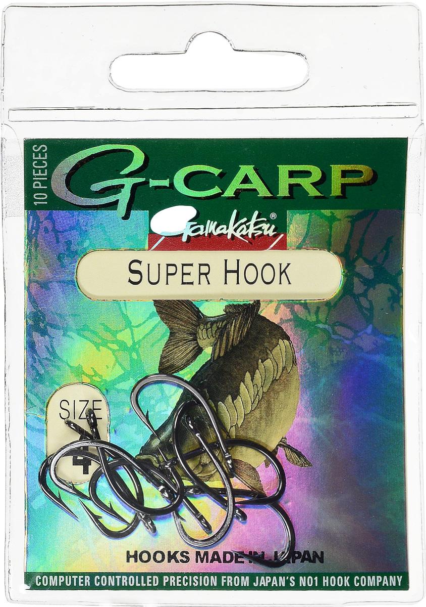 Крючок рыболовный Gamakatsu G-Carp. Super Hook, №4, 10 шт14682900400Крючок Gamakatsu G-Carp. Super Hook предназначен для применения в составе волосяных оснасток с тонущими насадками, сборными и балансированными на чистых участках дна. Универсальная форма крюка позволяет применять его не только в составе монтажей, но и насаживать наживку непосредственно на него. Областью применения является как стоячая вода, так и течение. Не имеют бокового отгиба, острие прямое, без подгиба внутрь. На сегодняшний день рыболовные крючки Gamakatsu являются лучшими по качеству в Японии и Европе. Все крючки выполняются из очень прочной стальной проволоки. Жала крючков имеют химическую заточку. Вид крепления: ушко. Размер крючка: №4.
