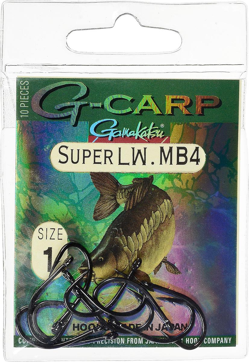 Крючок рыболовный Gamakatsu G-Carp Super LW MB4, размер 1, 10 шт14686600100Крючок Gamakatsu G-Carp Super LW MB4 подходит для ловли карпа. Изделие изготовлено из стали повышенной прочности. Крючок долго остается острым и легко впивается даже в твердую кость. Крючок не имеет бокового отгиба, жало прямое. Применяется в составе волосяных оснасток с тонущими насадками, а также с насадками типа снеговик. Подходит для растительных и животных насадок. Крючок прекрасно справляется на участках дна с наличием донного мусора. Размер: 1. Количество: 10 шт. Вид головки: кольцо.