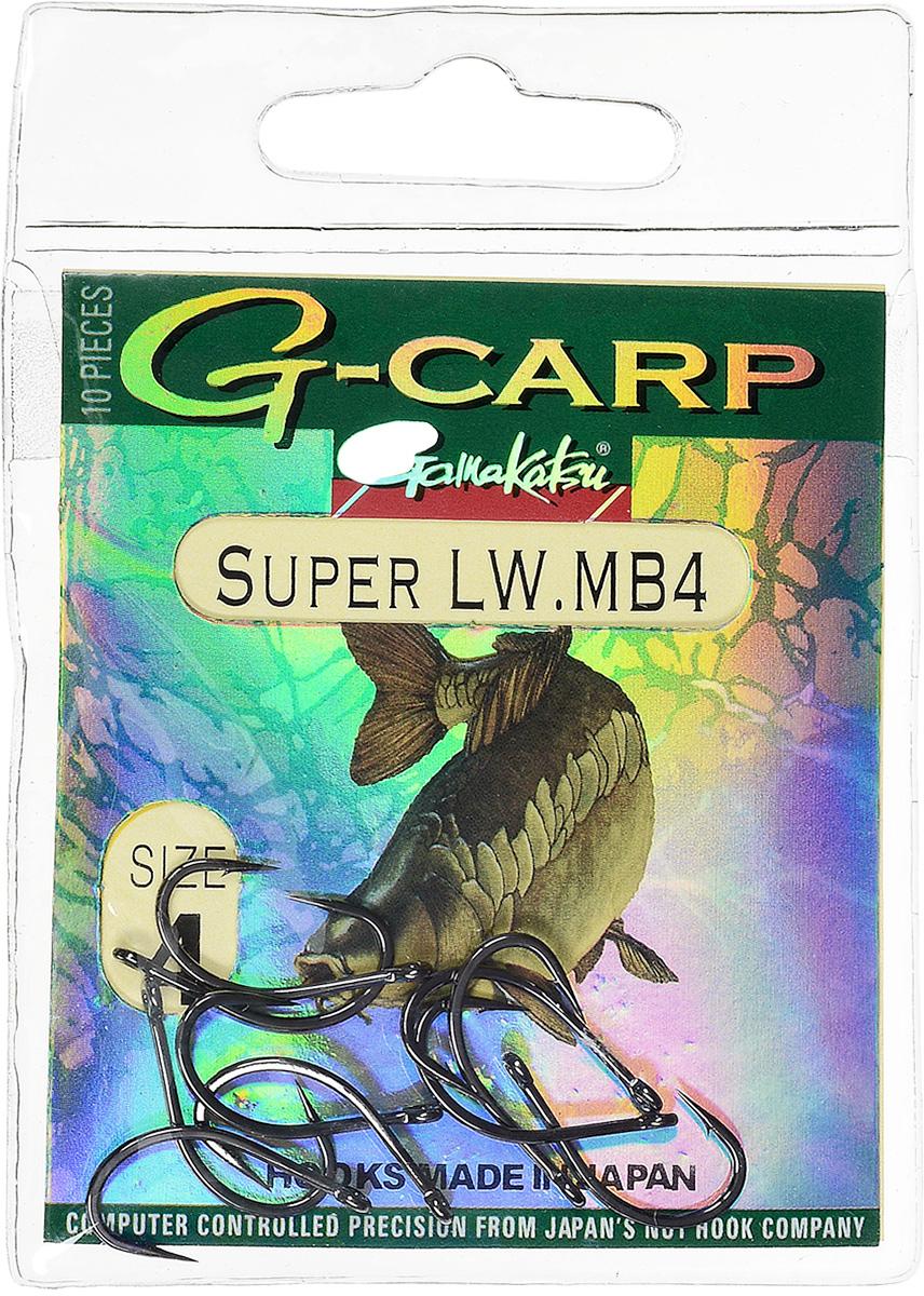 Крючок рыболовный Gamakatsu G-Carp Super LW MB4, размер 4, 10 шт14686600400Крючок Gamakatsu G-Carp Super LW MB4 подходит для ловли карпа. Изделие изготовлено из стали повышенной прочности. Крючок долго остается острым и легко впивается даже в твердую кость. Крючок не имеет бокового отгиба, жало прямое. Применяется в составе волосяных оснасток с тонущими насадками, а также с насадками типа снеговик. Подходит для растительных и животных насадок. Крючок прекрасно справляется на участках дна с наличием донного мусора. Размер: 4. Количество: 10 шт. Вид головки: кольцо.