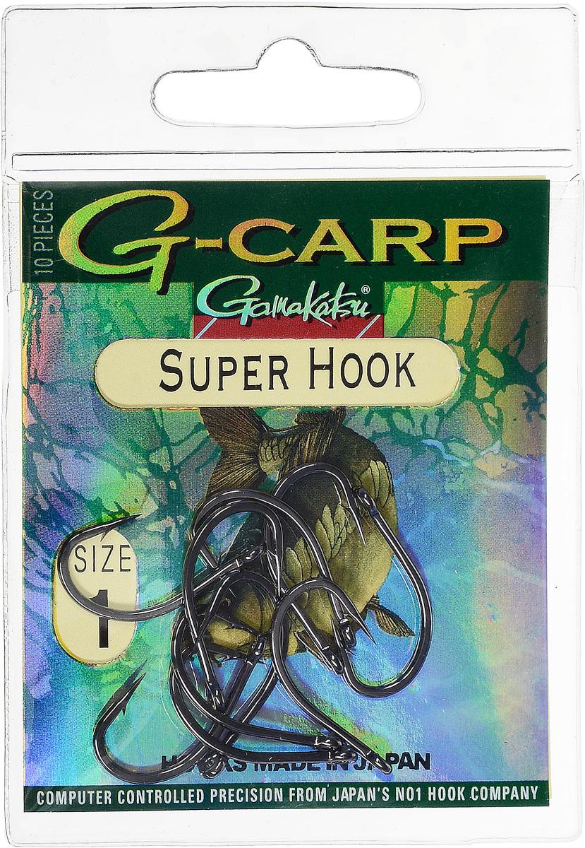 Крючок рыболовный Gamakatsu G-Carp. Super Hook, №1, 10 шт14682900100Крючок Gamakatsu G-Carp. Super Hook предназначен для применения в составе волосяных оснасток с тонущими насадками, сборными и балансированными на чистых участках дна. Универсальная форма крюка позволяет применять его не только в составе монтажей, но и насаживать наживку непосредственно на него. Областью применения является как стоячая вода, так и течение. Не имеют бокового отгиба, острие прямое, без подгиба внутрь. На сегодняшний день рыболовные крючки Gamakatsu являются лучшими по качеству в Японии и Европе. Все крючки выполняются из очень прочной стальной проволоки. Жала крючков имеют химическую заточку. Вид крепления: ушко. Размер крючка: №1.