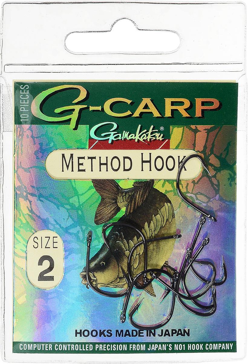 Крючок рыболовный Gamakatsu G-Carp. Method Hook, №2, 10 шт14682400200Крючок Gamakatsu G-Carp. Method Hook предназначен, в первую очередь, для применения в составе донных оснасток, сопряженных с кормушками, не только в карповой, но и в фидерной ловле. Увеличенная ширина загиба позволяет эффективно работать с приманками, расположенными непосредственно на крючке. Применимы в волосяных оснастках. Отлично работают на участках дна с наличием мусора. Применимы в стоячей воде и на течении. Имеют боковой отгиб жала, направленного в сторону колечка, что обеспечивает высокую эффективность их применения. Прокованная проволока обеспечивает при небольших диаметрах большой резерв мощности. Вид крепления: кольцо. Размер крючка: №2. 