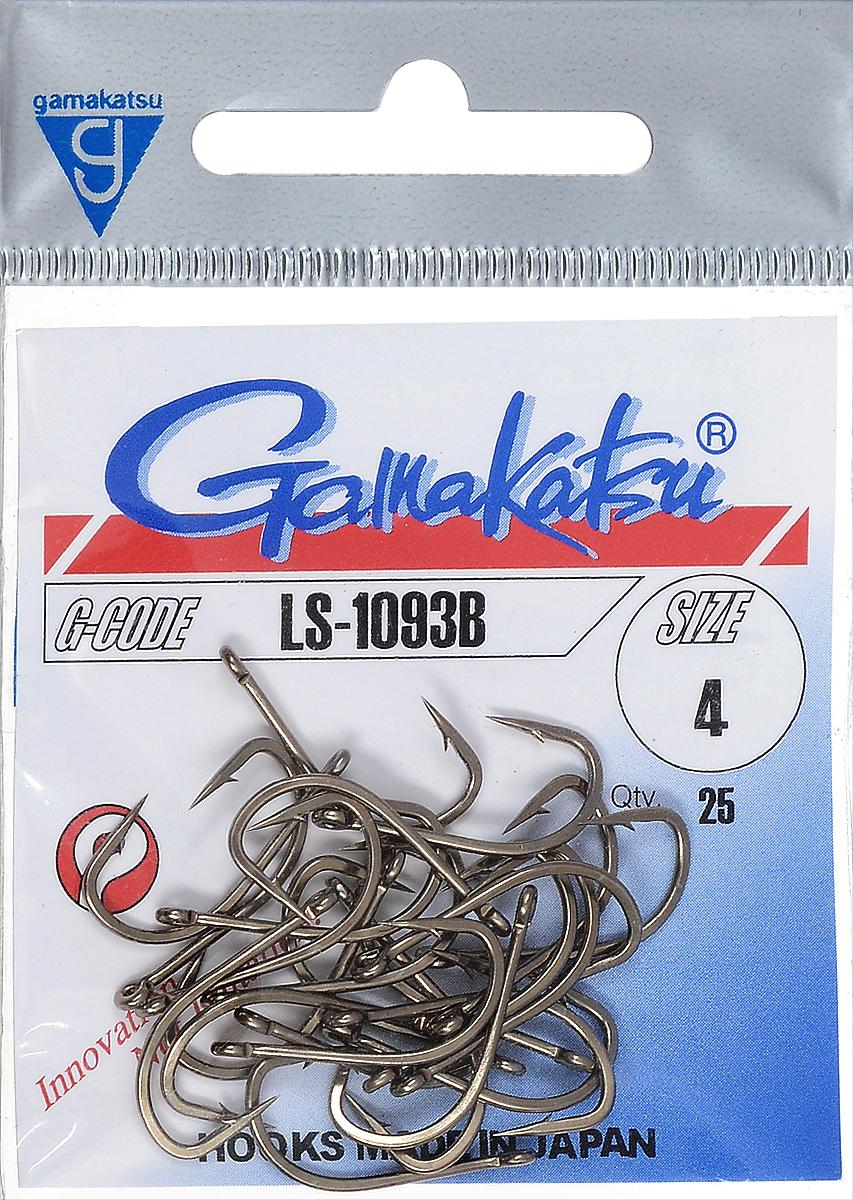 Крючок рыболовный Gamakatsu LS-1093B, размер 4, 25 шт14652500400Крючок Gamakatsu LS-1093B прекрасно подойдет для ловли крупной рыбы. Изделие изготовлено из высококачественной и прочной стали. Подходит для искусственных, растительных и животных насадок. Крючок идеально справляется с любой рыбой как на море, так и на спокойной воде. Размер: 4. Количество: 25 шт. Вид головки: кольцо.