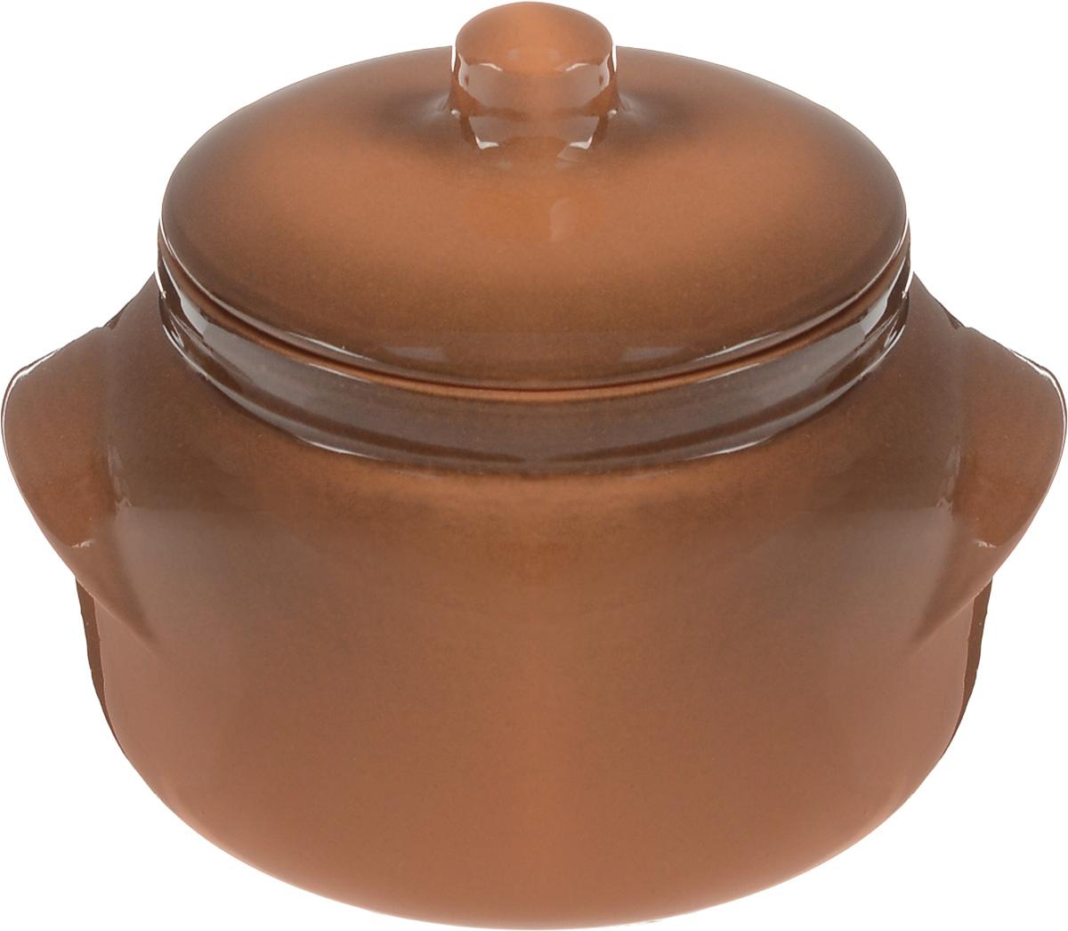 Горшок для запекания Борисовская керамика Новарусса, цвет: коричневый, 500 млОБЧ00000905Горшок для запекания Борисовская керамика Новарусса с крышкой выполнен из высококачественной керамики. Уникальные свойства красной глины и толстые стенки изделия обеспечивают эффект русской печи при приготовлении блюд. Блюда, приготовленные в керамическом горшке, получаются нежными и сочными. Вы сможете приготовить мясо, сделать томленые овощи и все это без капли масла. Это один из самых здоровых способов приготовления пищи. Можно использовать в духовке и микроволновой печи. Диаметр горшка (по верхнему краю): 10 см. Высота стенок: 8 см. Объем: 500 мл.