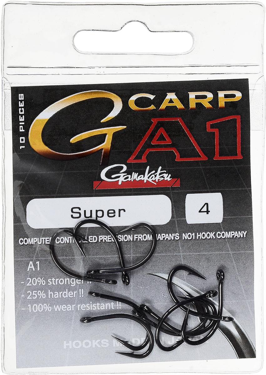 Крючок рыболовный Gamakatsu A1 G-Carp Super, размер 4, 10 шт14717600400Крючок Gamakatsu A1 G-Carp Super подходит для ловли карпа. Изделие изготовлено из стали повышенной прочности. Крючок долго остается острым и легко впивается даже в твердую кость. Крючок не имеет бокового отгиба, острие прямое, без подгиба. Подходит для растительных и животных насадок. Крючок прекрасно справляется с любой рыбой как на море, так и на спокойной воде. Размер: 4. Количество: 10 шт. Вид головки: кольцо.