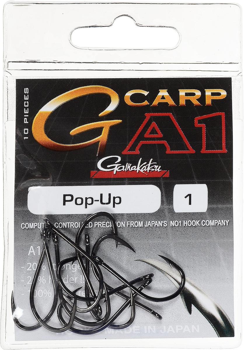 Крючок рыболовный Gamakatsu A1 G-Carp Pop-up, размер 1, 10 шт14717700100Крючок Gamakatsu A1 G-Carp Pop-up подходит для ловли карпа. Изделие изготовлено из стали повышенной прочности. Крючок долго остается острым и легко впивается даже в твердую кость. Крючок имеет боковой отгиб, жало подогнуто. Применяется в составе волосяных оснасток с тонущими насадками, а также с насадками типа снеговик. Подходит для растительных и животных насадок. Крючок прекрасно справляется на участках дна с наличием донного мусора. Размер: 1. Количество: 10 шт. Вид головки: кольцо.