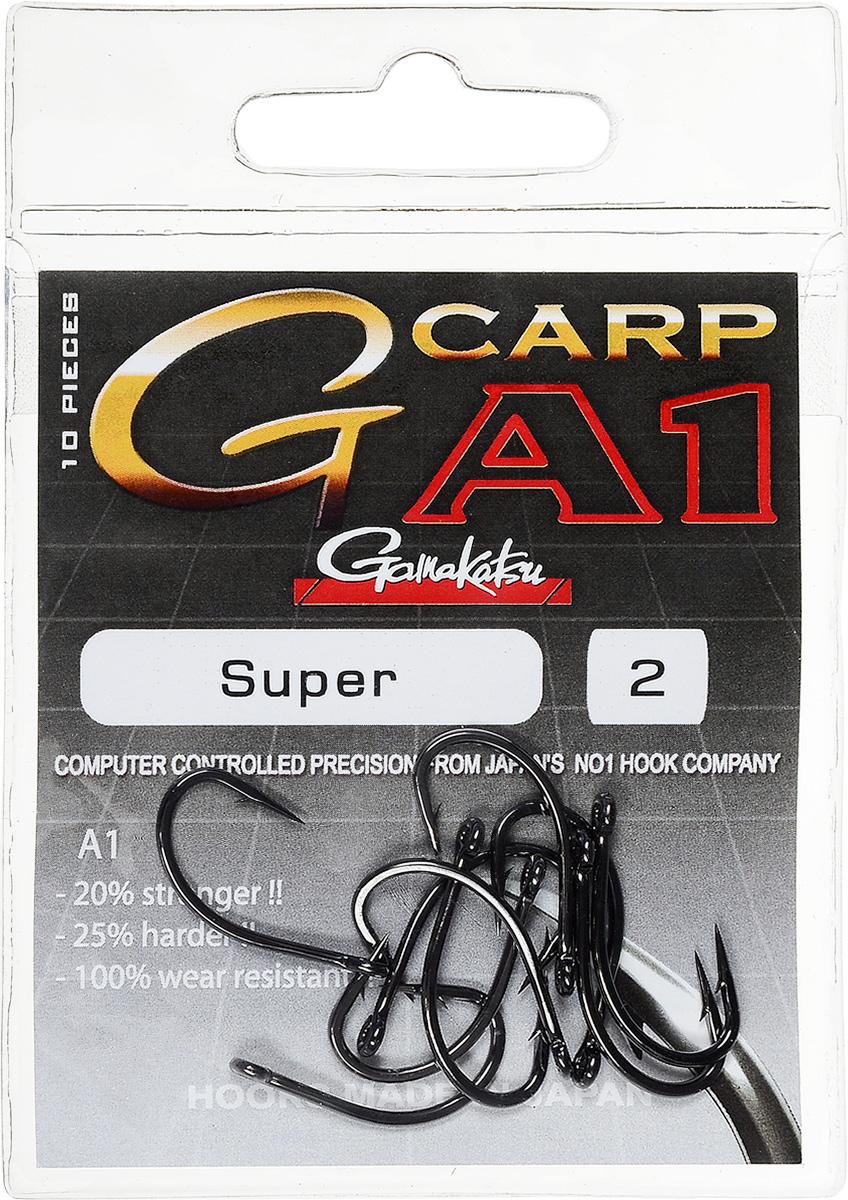 Крючок рыболовный Gamakatsu A1 G-Carp Super, размер 2, 10 шт14717600200Крючок Gamakatsu A1 G-Carp Super подходит для ловли карпа. Изделие изготовлено из стали повышенной прочности. Крючок долго остается острым и легко впивается даже в твердую кость. Крючок не имеет бокового отгиба, острие прямое, без подгиба. Подходит для растительных и животных насадок. Крючок прекрасно справляется с любой рыбой как на море, так и на спокойной воде. Размер: 2. Количество: 10 шт. Вид головки: кольцо.
