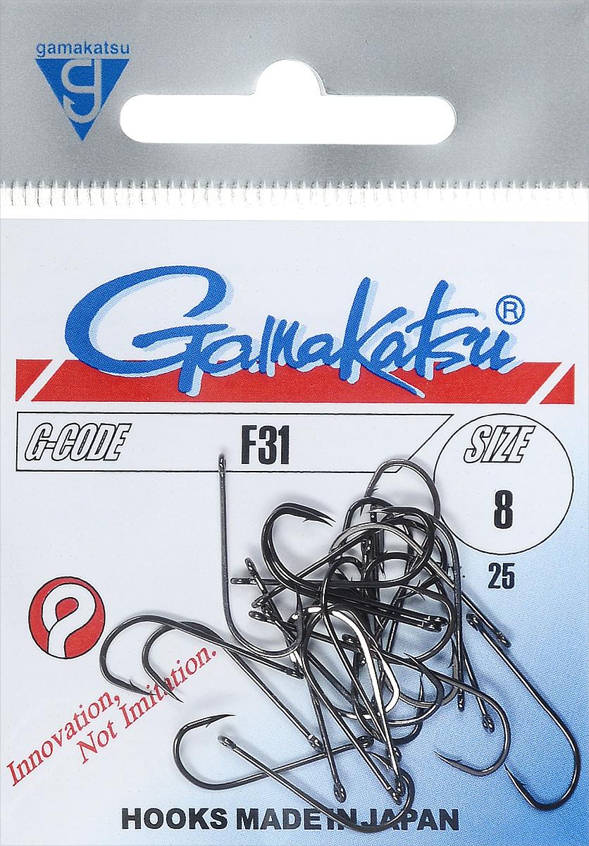 Крючок рыболовный Gamakatsu F31, размер 8, 25 шт14665300800Крючок Gamakatsu F31 прекрасно подойдет для ловли рыбы. Изделие изготовлено из высококачественной и прочной стали. Подходит для растительных и животных насадок. Крючок предназначен для рыбалки нахлыстом и с поплавком. Крючок идеально справляется с любой рыбой как на море, так и на спокойной воде. Размер: 8. Количество: 25 шт. Вид головки: кольцо.