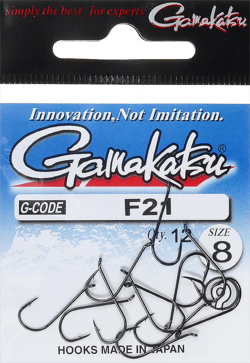 Крючок рыболовный Gamakatsu F21, размер 8, 12 шт14795200800Крючок Gamakatsu F21 предназначен для ловли карпа. Изделие изготовлено из высококачественной и прочной стали. Подходит для растительных и животных насадок. Головка крючка изогнута. Крючок прекрасно справляется с любой рыбой как на море, так и на спокойной воде. Размер: 8. Количество: 12 шт. Вид головки: кольцо.