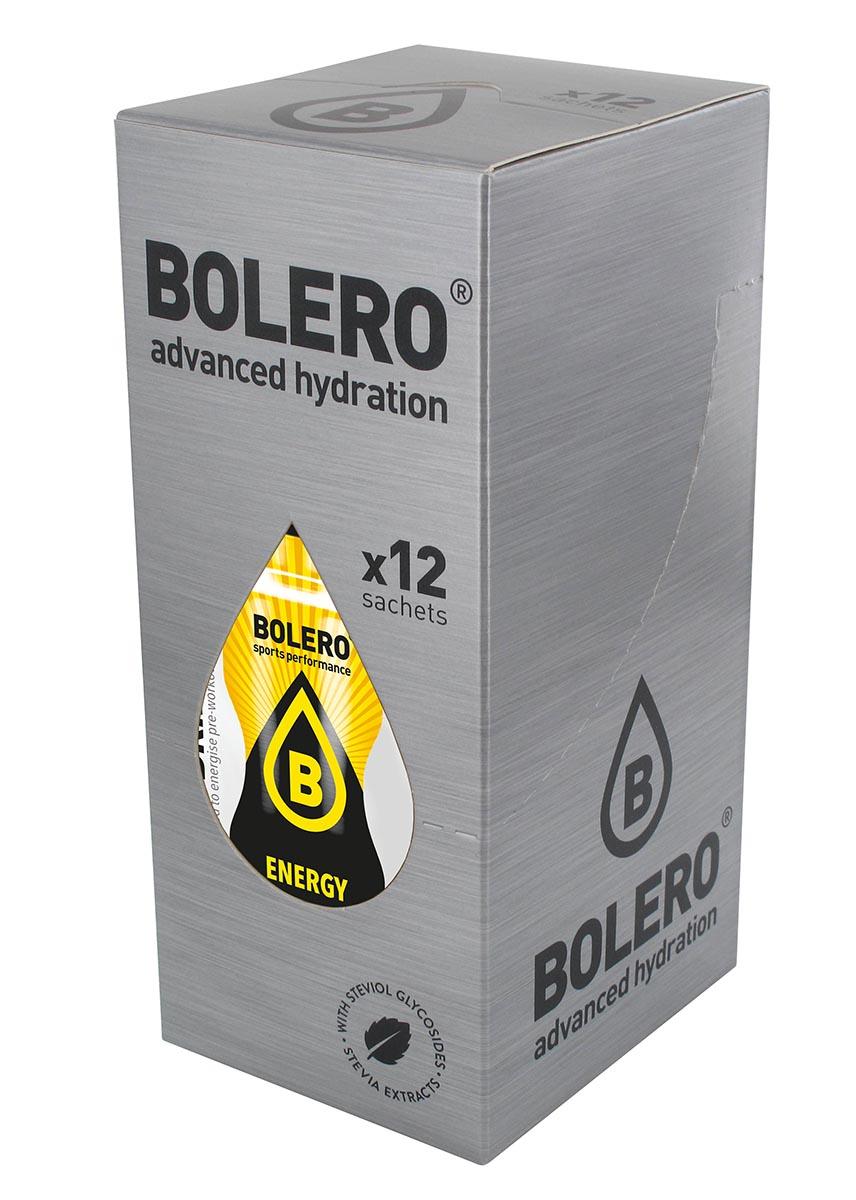 Энергетик быстрорастворимый Bolero Energy, 9 г х 12 штЦБ-00003163Рекомендуется использовать в рационе при интенсивных аэробных нагрузках. Пищевая ценность на 100 мл: Жир 0 , Белок 0 г, Соль 0,54 мг, Кофеин 32мг, Таурин 40 мг, Пантотеновая кислота 1,8 мг, ВитаминB6 1,3 мг, Витамин B12 2 мг.