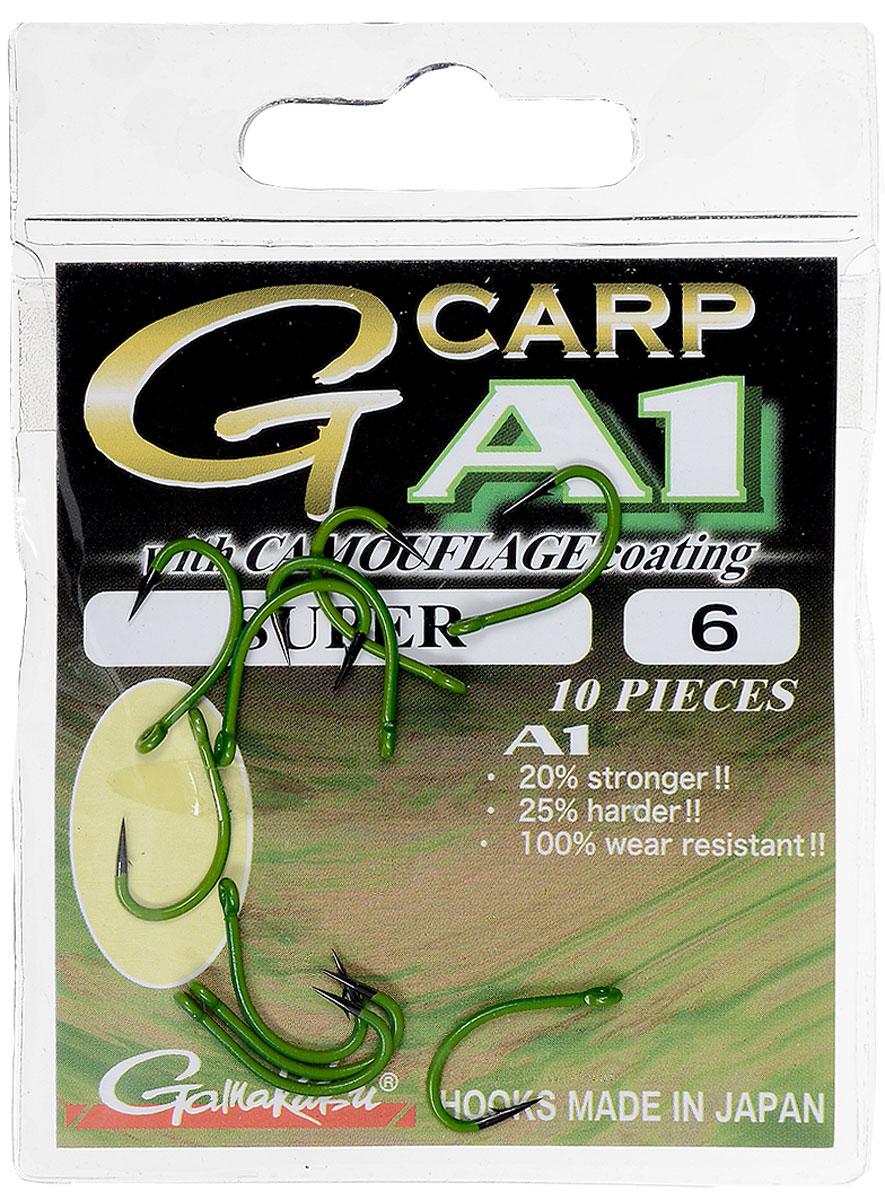 Крючок рыболовный Gamakatsu A1 G-Carp Camou Green Super, размер 6, 10 шт14908600600Крючок Gamakatsu A1 G-Carp Camou Green Super подходит для ловли карпа. Изделие изготовлено из стали повышенной прочности. Крючки долго остаются острыми и легко впиваются даже в твердую кость. Изделие окрашено в зеленый цвет, что удобно для ловли в водорослях. Подходит для растительных и животных насадок. Крючок прекрасно справляется с любой рыбой как на море, так и на спокойной воде. Размер: 6. Количество: 10 шт. Вид головки: кольцо.