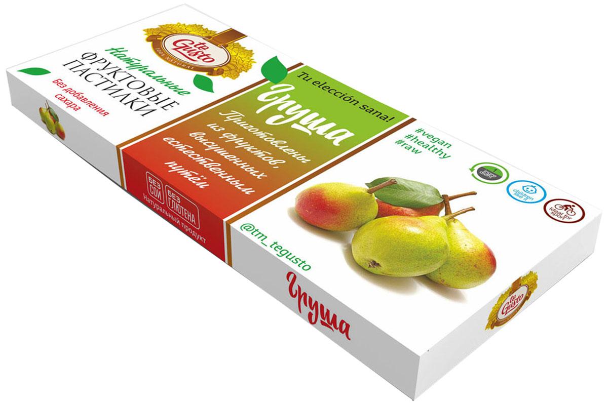 te Gusto Фруктовые пастилки из груши, 40 г4657155301764Фруктовые пастилки te Gusto без ГМО, глютена, сои, сахара, фруктозы, красителей, усилителей вкуса, загустителей. В составе только один ингредиент – плод, выращенный в экологически чистом районе. Пастилки изготовлены методом солнечной сушки, без консервантов. Особый способ измельчения плодов позволяет сохранить витамины в первозданном виде. Данный продукт создан для людей, ведущих здоровый образ жизни и уделяющих большое внимание своему питанию. Для спортсменов это полезный и питательный перекус, для вегетарианцев – сладость, не содержащая продуктов животного происхождения, для детей – натуральное лакомство, которое единожды попробовав, они предпочитают шоколадкам, и для всех, вне зависимости от возраста и систем питания – здоровый продукт без красителей, консервантов и подсластителей. В плодах груши содержатся уникальные эфирные масла и биологически активные вещества, которые улучшают настроение, снимают напряжение и даже помогают бороться с...