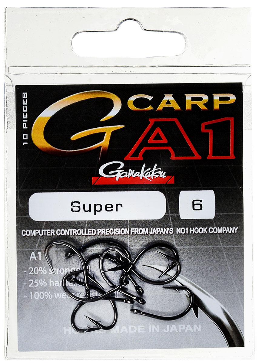 Крючок рыболовный Gamakatsu A1 G-Carp Super, размер 6, 10 шт14717600600Крючок Gamakatsu A1 G-Carp Super подходит для ловли карпа. Изделие изготовлено из стали повышенной прочности. Крючки долго остаются острыми. Жесткий крючок будет держать более острые углы в течение длительного вываживания и не сломается. Подходит для растительных и животных насадок. Крючок прекрасно справляется с любой рыбой как на море, так и на спокойной воде. Размер: 6. Количество: 10 шт. Вид головки: кольцо.