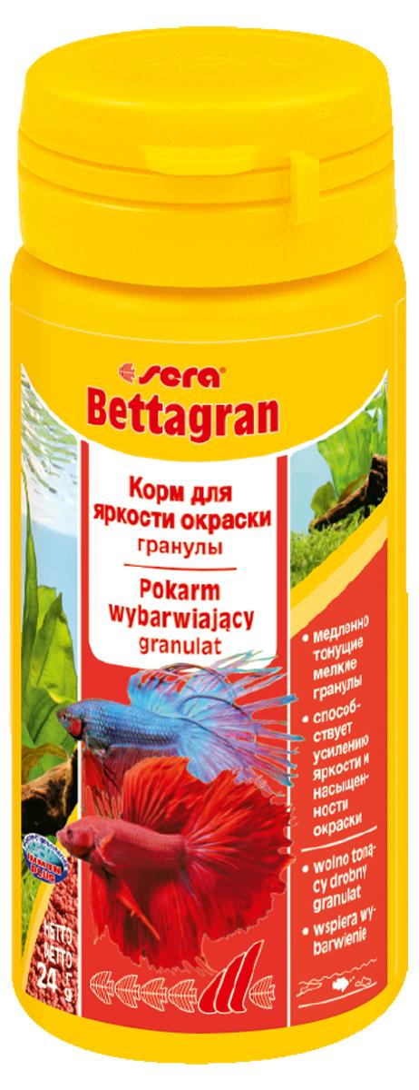 Корм для рыб Sera Bettagran50 мл (24 г)0104Корм для усиления яркости окраски рыб рода Betta, а также всех видов рыб, кормящихся в средних слоях воды. Высококачественные ингредиенты корма, такие как водоросль Гематококкус, усиливают яркость и насыщенность окраски рыб естественным путем. Медленно тонущие гранулы, надолго сохраняют свою форму в воде, не загрязняя ее. Применение: давайте рыбам столько корма, сколько они могут съесть в течение 2-3 минут. Ингредиенты: кукурузный крахмал, пшеничная клейковина, рыбная мука, цельный яичный порошок, казеинат кальция, пшеничная мука, рыбий жир (в т.ч. 49% Омега жирных кислот), пивные дрожжи, пшеничные зародыши, растительное сырье, люцерна, крапива, петрушка, гаммарус, морские водоросли, паприка, маннанолигосахариды (0,4%), спирулина, водоросль гематококкус (0,3%), шпинат, морковь, зеленые мидии, чеснок. Аналитический состав: Протеин 41,9%, Жиры 8,7%, Клетчатка 3,5%, Влажность 5,0%, Зольные вещества 4,0%. Содержание добавок: Витамины и провитамины: Bит. A 37.000 МЕ/кг, Bит. D3 1.800...