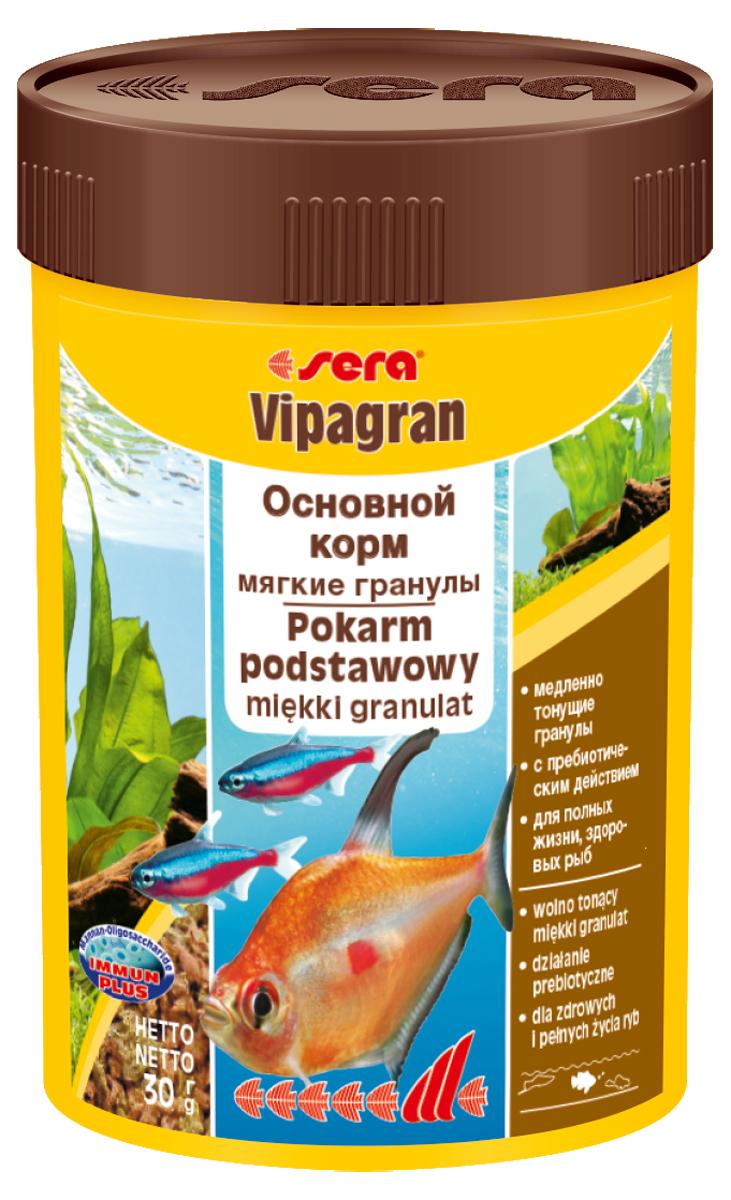 Корм для рыб Sera Vipagran, 100 мл (30 г)0201Основной корм, состоящий из медленно тонущих мягких гранул. sera vipagran – популярный основной корм, состоящий из мягких гранул, произведенных путем бережной обработки сырья; предназначен для всех видов рыб, главным образом кормящихся в средних слоях воды. Тщательно подобранные ингредиенты корма с пребиотическим действием способствуют здоровью и жизнестойкости рыб. Медленно тонущие гранулы, надолго сохраняют свою форму в воде, не загрязняя ее, великолепно усваиваются организмом рыб. Благодаря мягкой эластичной структуре частиц этот вкусный сбалансированный корм также подходит для рыб с очень маленьким ртом и узкой глоткой. Ингредиенты: кукурузный крахмал, пшеничная клейковина, рыбная мука, цельный яичный порошок, казеинат кальция, пшеничная мука, рыбий жир (в т.ч. 49% Омега жирных кислот), пивные дрожжи, спирулина, пшеничные зародыши, растительное сырье, люцерна, крапива, петрушка, гаммарус, морские водоросли, паприка, маннанолигосахариды (0,4%), шпинат, морковь, водоросль...