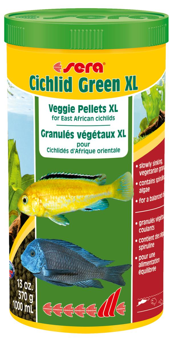 Корм для рыб Sera Cichlid Green Xl, 1000 мл (370 г)0213Растительный корм со спирулиной для больших цихлид. Cichlid Green XL является основным кормом, состоящим из специально подготовленных гранул для больших цихлид и других крупных рыб, питающихся в основном растительной пищей. Высокая доля водоросли спирулины (10%) и других растительных компонентов (шпинат и др.) с высоким уровнем содержания каротиноидов, минералов, микроэлементов и клетчатки, помогают достичь оптимального развития, цвета и улучшают состояние пищеварительной системы. Плавающие гранулы обладают высокой стабильностью в воде и не загрязняют воду. Инструкция по применению: Кормить один-два раза в день, но только в том количестве, которое рыбы могут съесть в течение короткого периода времени. Ингредиенты: рыбная мука, кукурузный крахмал, пшеничная мука, спирулина (10%), пшеничные зародыши, пивные дрожжи, рыбий жир (в т.ч. 49% Омега жирных кислот), гаммарус, пшеничная клейковина, маннанолиго-сахариды (0,4%), криль, крапива, травы, люцерна, петрушка, зеленые мидии, морские...