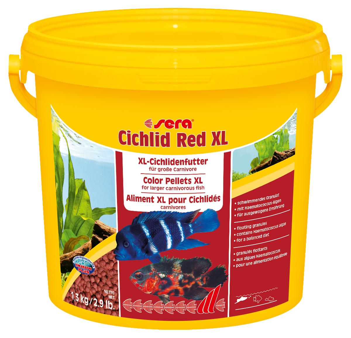 Корм для рыб Sera Cichlid Red XL, 1,3 кг0215Корм для рыб Sera Cichlid Red XL - основной корм для крупных плотоядных цихлид и других крупных всеядных рыб. Корм состоит из специально подготовленных гранул. Высокое содержание белков и омега-жирных кислот из водорослей Haematococcus помогает достичь оптимального и здорового развития и цвета, гранулы имеют особый вкус и отличную поедаемость. Плавающие гранулы обладают высокой стабильностью в воде и не загрязняют воду. Инструкция по применению: Кормить один-два раза в день, но только в том количестве, которое рыбы могут съесть в течение короткого периода времени. Ингредиенты: рыбная мука (40%), кукурузный крахмал, пшеничная мука, пшеничная клейковина, пшеничные зародыши, пивные дрожжи, спирулина, рыбий жир (49% Омега жирных кислот), водоросль гематококкус (0,5%), криль, маннанолиго-сахариды (0,4%), травы, люцерна, крапива, петрушка, зеленые мидии, морские водоросли, паприка, шпинат, морковь, чеснок. Аналитический состав: протеин 40,0%, жиры 7,5%,...