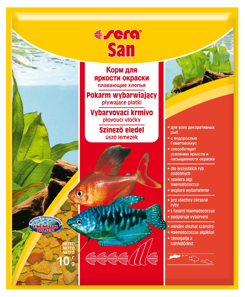 Корм для рыб Sera San, 10 г0242Премиум-хлопья усиливающие интенсивность окраса. Благодаря сбалансированному уровню содержания белков этот хлопьевидный корм способствует быстрому и здоровому росту. Полноценный состав из более чем 40 ингредиентов обеспечивает ежедневные потребности в питательных веществах типичного сообщества рыб. Естественная окраска рыб усиливается особенно хорошо, благодаря высокому содержанию спирулины и натуральных каротиноидов. Кормить умеренно несколько раз в день в количестве, которое рыбы могут съесть в течение короткого промежутка времени. Ингредиенты: рыбная мука, пшеничная мука, пивные дрожжи, казеинат кальция, гаммарус, яичный порошок, спирулина, масло печени трески, маннан-олигосахарид (MOS 0,4%), мука из зеленых губчатых молюсков, чеснок, зелень, люцерна, крапива, водоросли, зелень петрушки, перец, шпинат, морковь, красители, разрешенные в ЕС. Качественный состав на кг: протеин 48,6%, жир 8,3%, клетчатка 2,9%, зола 11,5%, влажность 5,2%, витамины: А 37000МЕ, В1 35мг, В2 90мг, С 550мг,...