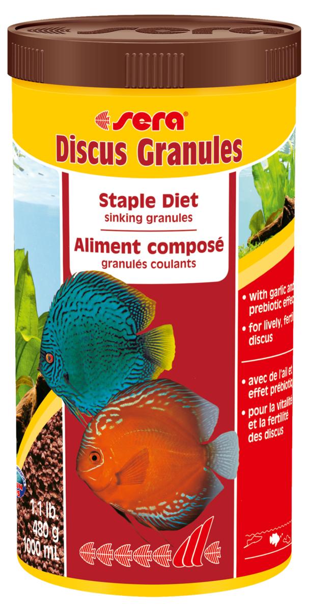 Корм для рыб Sera Discus Granulat, 1 л (480 г)0307Корм для рыб Sera Discus Granulat- это тонущие гранулы c чесноком и с пребиотическим действием для здоровой жизни и повышения плодовитости дискусов. Дискусов по праву считают королями пресноводных аквариумов - мало кто может соперничать с ними по стати, разнообразию окрасов и причудливости форм. Как настоящие короли, дискусы исключительно капризны в еде. Корм Discus granulat полностью удовлетворяет потребностям дискусов в питательных веществах и охотно поедается этими капризными королями. В состав корма входят ингредиенты, богатые минералами, и хорошо усвояемые белки. Благодаря этому кормление этим кормом способствует здоровому росту рыбы, повышает ее плодовитость и устойчивость к болезням. Тонущие гранулы надолго сохраняют свою форму в воде, не загрязняя ее, и великолепно усваиваются организмом рыб. Инструкция по применению: Кормить один-два раза в день, но только в том количестве, которое рыбы могут съесть в течение короткого периода времени. ...