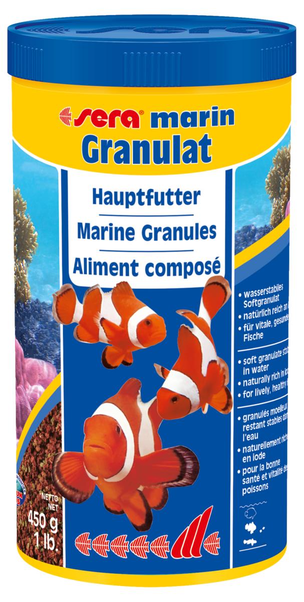 Корм для морских рыб Sera Marin Granulat, 1000 мл (450 г)0379Гранулированный корм состоит из особо мягких компонентов и медленно тонет в воде. Мягкие гранулы идеально подходят в качестве основного корма для всех морских рыб, кормящихся в средних слоях воды, а также ориентированных на придонное кормление. Тщательно подобранные ингредиенты, такие как высококачественный рыбий жир, водоросли спирулина, а также планктон, полностью удовлетворяют потребностям рыб. Инструкция по применению: кормить один-два раза в день, но только в том количестве, которое рыбы могут съесть в течение короткого периода времени. Ингредиенты: рыбная мука, пшеничная клейковина, пшеничная мука, гтшеничные зародыии, каэеинат кальция, морские водоросли, рыбий жир (в т.ч. 49% Омега жирных кислот), спирулина, криль, пивные дрожжи, крапива, растительное сьрье, люцерна, петрушка, маннанолигосахариды (0,4%), паприка, шпинат, морковь, зеленые мидии, водоросль гематококкус, чеснок. Аналитический состав: протеины 52,5%, жиры 8,1 %, кпетчагка 5,0%, влажность 5,0%, зольные вещвства...