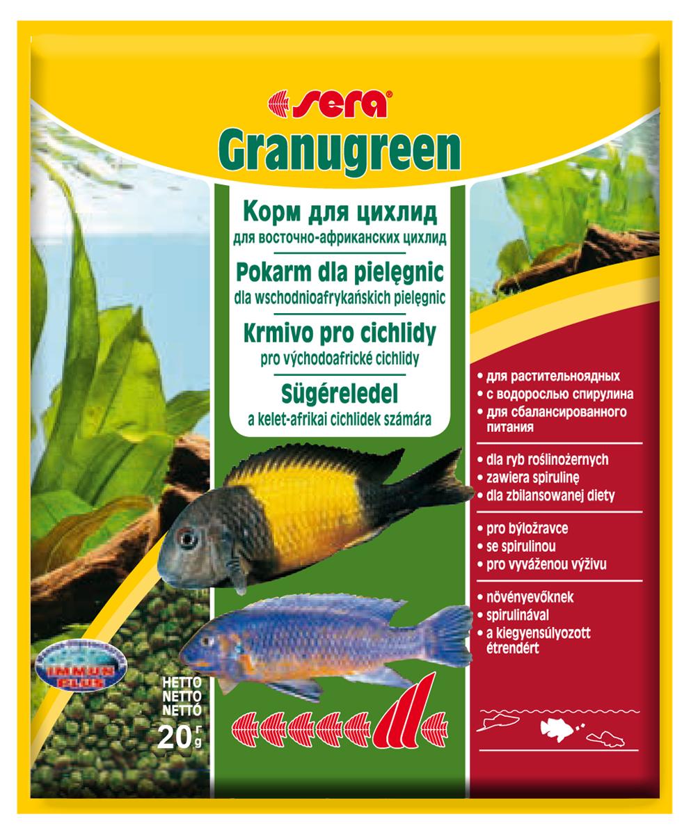 Корм для рыб Sera Granugreen, 20 г0391Основной корм, состоит из гранул, произведенных путем бережной обработки сырья; предназначен для цихпид, которые преимущественно питаются растениями и перифитоном. Сбалансированный состав растительных компонентов, таких как водоросль спирулина и шпинат, способствует здоровому пищеварению и оптимальному формированию яркости и насыщенности окраски цихпид. Медленно тонущие гранулы, надолго сохраняют свою форму в воде, не загрязняя её. Инструкция по применению: кормить один-два раза в день, но только в том количестве, которое рыбы могут съесть в течение короткого периода времени. Ингредиенты: рыбная мука, кукурузный крахмал, пшеничная клейковина, пшеничная мука, пшеничные зародыши, пивные дрожжи, рыбий жир (вт.ч. 49% Омега жирных кислот), петрушка, спирулина (1,7%), крапива, растительное сьрье, люцерна, маннанолигосахариды (0,4%), морские водоросли, паприка, шпинат, морковь, зеленые мидии, водоросль гематококкус, чеснок. Аналитический состав: протеин 38,9%, жиры 8,5%, клетчатка 4,8%,...
