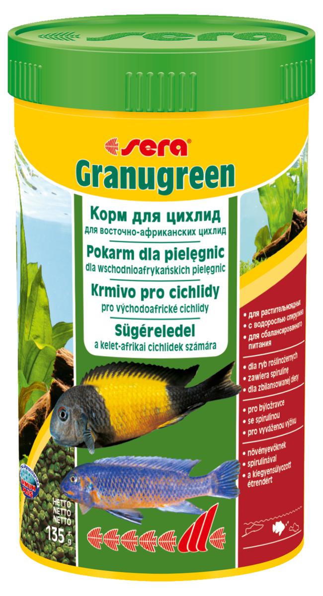 Корм для рыб Sera Granugreen, 250 мл (135 г)0392Основной корм, состоит из гранул, произведенных путем бережной обработки сырья; предназначен для цихпид, которые преимущественно питаются растениями и перифитоном. Сбалансированный состав растительных компонентов, таких как водоросль спирулина и шпинат, способствует здоровому пищеварению и оптимальному формированию яркости и насыщенности окраски цихпид. Медленно тонущие гранулы, надолго сохраняют свою форму в воде, не загрязняя её. Инструкция по применению: кормить один-два раза в день, но только в том количестве, которое рыбы могут съесть в течение короткого периода времени. Ингредиенты: рыбная мука, кукурузный крахмал, пшеничная клейковина, пшеничная мука, пшеничные зародыши, пивные дрожжи, рыбий жир (вт.ч. 49% Омега жирных кислот), петрушка, спирулина (1,7%), крапива, растительное сьрье, люцерна, маннанолигосахариды (0,4%), морские водоросли, паприка, шпинат, морковь, зеленые мидии, водоросль гематококкус, чеснок. Аналитический состав: протеин 38,9%, жиры 8,5%, клетчатка 4,8%,...