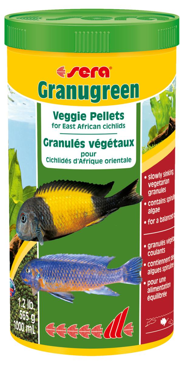 Корм для рыб Sera Granugreen, 1000 мл (600 г)0396Основной корм, состоит из гранул, произведенных путем бережной обработки сырья; предназначен для цихпид, которые преимущественно питаются растениями и перифитоном. Сбалансированный состав растительных компонентов, таких как водоросль спирулина и шпинат, способствует здоровому пищеварению и оптимальному формированию яркости и насыщенности окраски цихпид. Медленно тонущие гранулы, надолго сохраняют свою форму в воде, не загрязняя её. Инструкция по применению: кормить один-два раза в день, но только в том количестве, которое рыбы могут съесть в течение короткого периода времени. Ингредиенты: рыбная мука, кукурузный крахмал, пшеничная клейковина, пшеничная мука, пшеничные зародыши, пивные дрожжи, рыбий жир (вт.ч. 49% Омега жирных кислот), петрушка, спирулина (1,7%), крапива, растительное сьрье, люцерна, маннанолигосахариды (0,4%), морские водоросли, паприка, шпинат, морковь, зеленые мидии, водоросль гематококкус, чеснок. Аналитический состав: протеин 38,9%, жиры 8,5%, клетчатка 4,8%,...