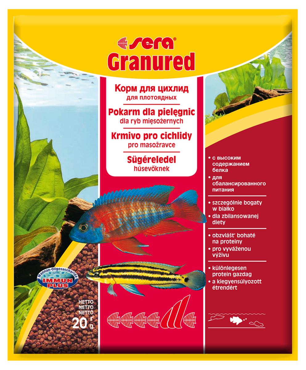 Корм для рыб Sera Granured, 20 г0401Основной комплексный корм, состоит из гранул, произведенных путем бережной обработки сырья; предназначен для преимущественно плотоядных цихлид. Высокое содержание белка, ценных жиров и криля способствует здоровому развитию и оптимальному формированию яркости и насыщенности окраски цихлид. Медленно тонущие гранулы, надолго сохраняют свою форму в воде, не загрязняя ее. Инструкция по применению: Кормить один-два раза в день, но только в том количестве, которое рыбы могут съесть в течение короткого периода времени. Ингредиенты: рыбная мука (26%), кукурузный крахмал, пшеничная клейковина, пшеничная мука, пшеничные зародыши, криль (2%), рыбий жир (в т.ч. 49% Омега жирных кислот), гаммарус, маннанолигосахариды (0,4%), пивные дрожжи, спирулина, зеленые мидии, водоросль гематококкус, чеснок. Аналитический состав: Протеин 46,5%, Жиры 8,2%, Клетчатка 3,3%, Влажность 5,0%, Зольные вещества 5,3%. Содержание добавок: Витамины и провитамины: Bит. A 30.000 МЕ/кг, Bит. D3 1.500 МЕ/кг, Bит. E (D,...
