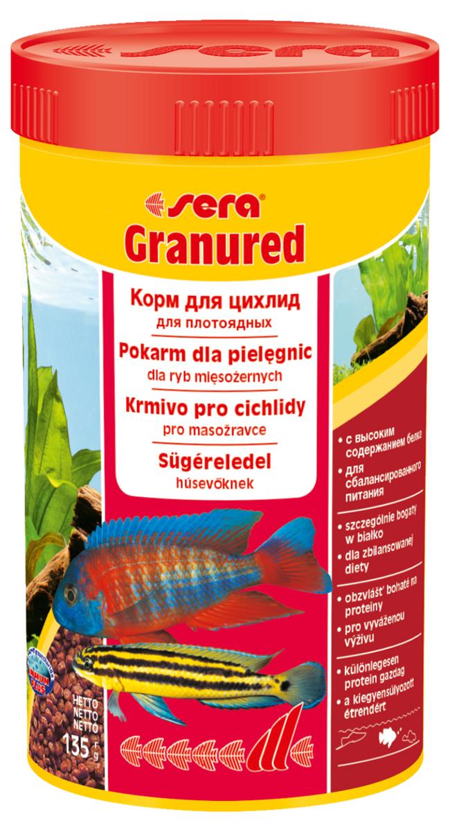 Корм для рыб Sera Granured, 250 мл (135 г)0402Основной комплексный корм, состоит из гранул, произведенных путем бережной обработки сырья; предназначен для преимущественно плотоядных цихлид. Высокое содержание белка, ценных жиров и криля способствует здоровому развитию и оптимальному формированию яркости и насыщенности окраски цихлид. Медленно тонущие гранулы, надолго сохраняют свою форму в воде, не загрязняя ее. Инструкция по применению: Кормить один-два раза в день, но только в том количестве, которое рыбы могут съесть в течение короткого периода времени. Ингредиенты: рыбная мука (26%), кукурузный крахмал, пшеничная клейковина, пшеничная мука, пшеничные зародыши, криль (2%), рыбий жир (в т.ч. 49% Омега жирных кислот), гаммарус, маннанолигосахариды (0,4%), пивные дрожжи, спирулина, зеленые мидии, водоросль гематококкус, чеснок. Аналитический состав: Протеин 46,5%, Жиры 8,2%, Клетчатка 3,3%, Влажность 5,0%, Зольные вещества 5,3%. Содержание добавок: Витамины и провитамины: Bит. A 30.000 МЕ/кг, Bит. D3 1.500 МЕ/кг, Bит. E (D,...