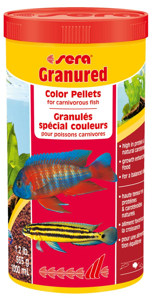 Корм для рыб Sera Granured, 1000 мл (600 г)0406Основной комплексный корм, состоит из гранул, произведенных путем бережной обработки сырья; предназначен для преимущественно плотоядных цихлид. Высокое содержание белка, ценных жиров и криля способствует здоровому развитию и оптимальному формированию яркости и насыщенности окраски цихлид. Медленно тонущие гранулы, надолго сохраняют свою форму в воде, не загрязняя ее. Инструкция по применению: Кормить один-два раза в день, но только в том количестве, которое рыбы могут съесть в течение короткого периода времени. Ингредиенты: рыбная мука (26%), кукурузный крахмал, пшеничная клейковина, пшеничная мука, пшеничные зародыши, криль (2%), рыбий жир (в т.ч. 49% Омега жирных кислот), гаммарус, маннанолигосахариды (0,4%), пивные дрожжи, спирулина, зеленые мидии, водоросль гематококкус, чеснок. Аналитический состав: Протеин 46,5%, Жиры 8,2%, Клетчатка 3,3%, Влажность 5,0%, Зольные вещества 5,3%. Содержание добавок: Витамины и провитамины: Bит. A 30.000 МЕ/кг, Bит. D3 1.500 МЕ/кг, Bит. E (D,...