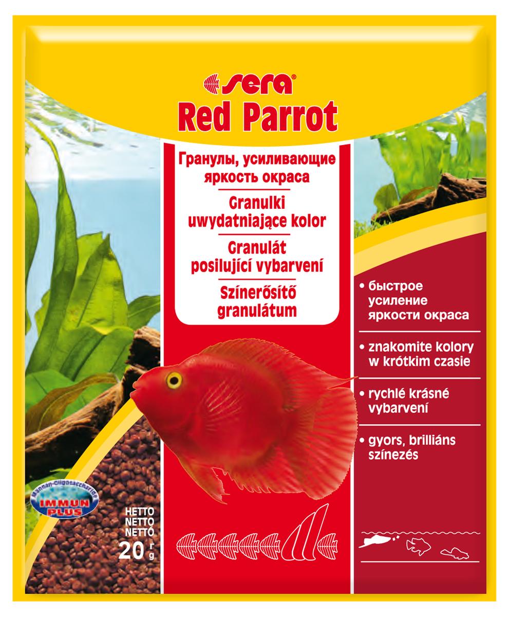 Корм для рыб Sera Red Parrot, 20 г0410Плавающий гранулированный корм, специально разработанный для рыб-попугаев. Тщательно подобранные ингредиенты корма бережно обработаны и хорошо сбалансированы, чтобы удовлетворить специфические потребности этих впечатляющих рыбок. Натуральные пигменты обеспечивают усиление яркости окраса в течение короткого периода времени. Инструкция по применению: Кормить несколько раз в день экономно, но только в том объеме, который рыбы могут съесть за короткий период времени. Ингредиенты: рыбная мука, кукурузный крахмал, пшеничная мука, пшеничная клейковина, пшеничные зародыши, пивные дрожжи, спирулина, рыбий жир (в т.ч. 49% Омега жирных кислот), водоросль гвматококкус, криль, маннанолигосахариды (0,4%), растительное сырье, люцерна, крапива, петрушка, зеленые мидии, морские водоросли, паприка, шпинат, морковь, чеснок. Аналитический состав: Протеин 42,0%, Жиры 8,5%, Клетчатка 2,8%, Влажность 5,2%, Зольные вещества 6,9%. Содержание добавок Витамины и провитамины: Вит. А 37.000 МЕ/кг, Вит. D3 1.800...
