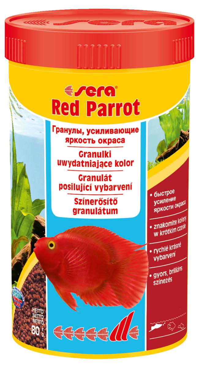 Корм для рыб Sera Red Parrot, 250 мл (80 г)0411Плавающий гранулированный корм, специально разработанный для рыб-попугаев. Тщательно подобранные ингредиенты корма бережно обработаны и хорошо сбалансированы, чтобы удовлетворить специфические потребности этих впечатляющих рыбок. Натуральные пигменты обеспечивают усиление яркости окраса в течение короткого периода времени. Инструкция по применению: Кормить несколько раз в день экономно, но только в том объеме, который рыбы могут съесть за короткий период времени. Ингредиенты: рыбная мука, кукурузный крахмал, пшеничная мука, пшеничная клейковина, пшеничные зародыши, пивные дрожжи, спирулина, рыбий жир (в т.ч. 49% Омега жирных кислот), водоросль гвматококкус, криль, маннанолигосахариды (0,4%), растительное сырье, люцерна, крапива, петрушка, зеленые мидии, морские водоросли, паприка, шпинат, морковь, чеснок. Аналитический состав: Протеин 42,0%, Жиры 8,5%, Клетчатка 2,8%, Влажность 5,2%, Зольные вещества 6,9%. Содержание добавок Витамины и провитамины: Вит. А 37.000 МЕ/кг, Вит. D3 1.800...