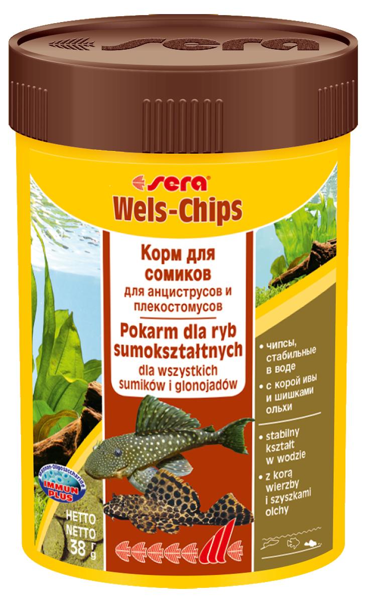 Корм для рыб Sera Wels Chips, 100 мл (38 г)0510Корм для рыб Sera Wels Chips - специализированный корм в виде чипсов для сомиков, содержащий кору ивы и шишки ольхи. Предназначен как для сомов, соскабливающих корм роговым наростом, так и для сомов со ртом в виде присоски. Высокое содержание балластных веществ поддерживает пищеварение и соответствует естественным особенностям питания рыб. Быстро тонущие чипсы сохраняют свою форму в течение 24 часов, не загрязняя воду. Это позволяет ночным сомам поедать корм медленно. Инструкция по применению: Кормить экономно один раз в день. Ночных животных желательно кормить вечером. Ингредиенты: рыбная мука, кукурузный крахмал, пшеничная мука, пшеничные зародыши, пивные дрожжи, спирулина, сухое молоко, рыбий жир (49% Омега жирных кислот), растительное сырье, цельный яичный порошок, кора ивы (0,5%), ольховые шишки (0,5%), крапива, люцерна, маннанолигосахариды (0,4%), петрушка, морские водоросли, паприка, шпинат, морковь, зеленые мидии, водоросль гематококкус, чеснок. ...